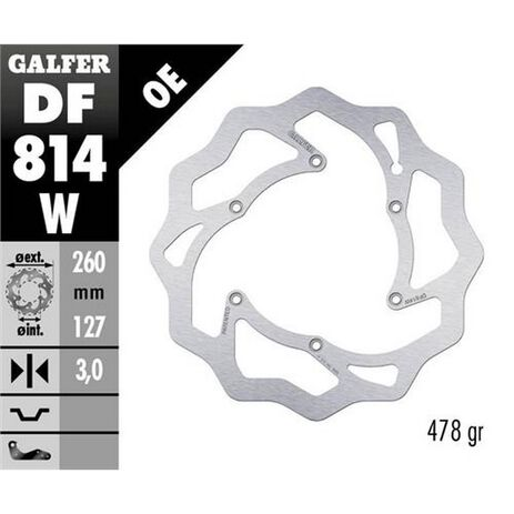 _Disque de Frein Avant Galfer Beta RR 250 2T Enduro 12-.. RR 450 4T Enduro 13-.. 260x3 mm | DF814W | Greenland MX_